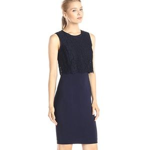NWT Rebecca Taylor Refined Suiting Dress w/Lace